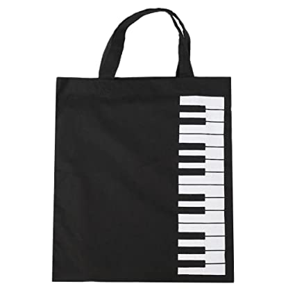 Baoblaze Bolsa de Algodón puros Pianos Taclados Musical Bolso de Mano de Compras - Negro,