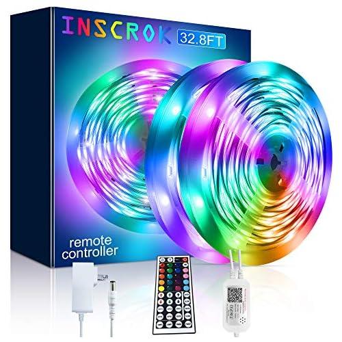 chollos oferta descuentos barato Inscrok Música Tira LED 10M 300LEDs Luces LED Habitacion con Remoto y Fuente de ETL UL Alimentación Tiras LED 5050smd RGB Decoracion Habitacion