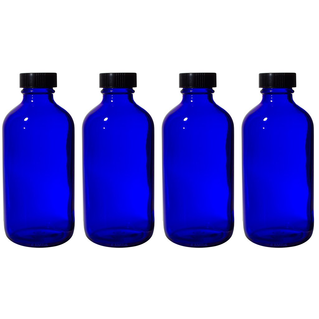 15a88e7d0ddf 8 oz Cobalt Blue Glass Boston Round Bottle with Black Phenolic Cone Lined  Caps (4 Pack)