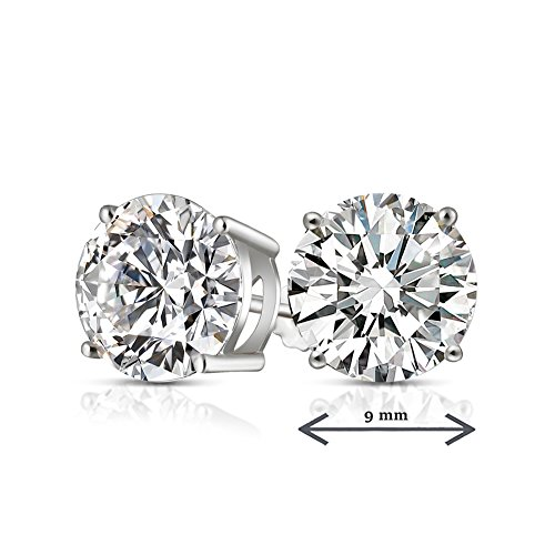 14k White Gold Post & Sterling Silver 4 Prong CVD Coated CZ Stud Earrings for Women CZ 6 Carats