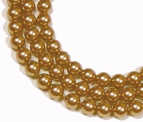 (200 Swarovski Crystal Glass Pearls 3mm Round Beads (5810). 24 Inch Loose Strand (Vintage Gold))