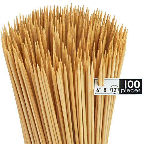 DecorRack Natural Bamboo Skewer Sticks, Natural Wooden Barbecue Kabob Skewers, Best for Grill, BBQ, Kebab, Marshmallow Roasting or Fruit Sticks, 12 inch (Pack of 100)