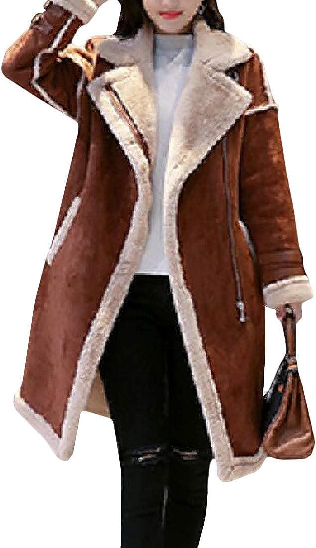XXBlosom Womens Trendy Thick Suede Lapel Fleece Lined Overcoat Parkas Jacket