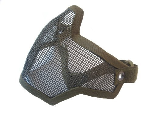 Airsoft Half Face Mask With Wire Mesh Green