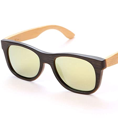 a7676df3b9bc SUNGLASSES Retro Polarized Colored Bamboo Wood Glasses Unisex Outdoor Sports  Eyewear Polarized glasses (Color   Gold)  Amazon.co.uk  Kitchen   Home