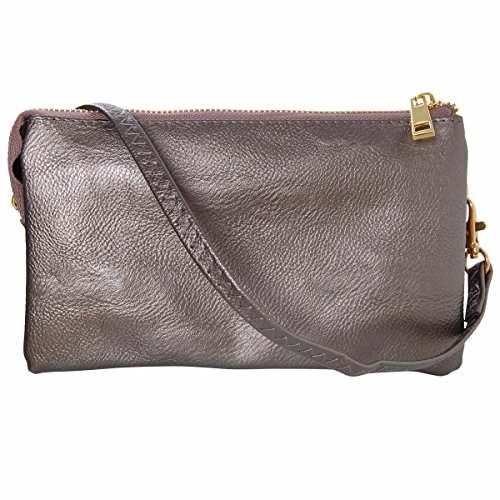Humble Chic Vegan Leather Small Crossbody Bag or Wristlet Clutch Purse, Includes Adjustable Shoulder and Wrist Straps, Gunmetal, Metallic, Dark Silver