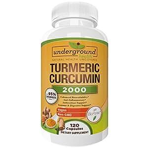 Turmeric Curcumin 2000 ★ ORGANIC TURMERIC ★ 120 Veggie Capsules. 95% Curcuminoids with Bioperine Black Pepper Extract. 2000mg Daily Serving. Highest Potency Turmeric Supplement.