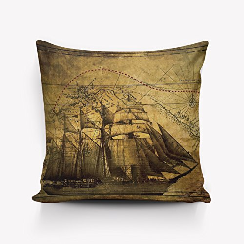 Crystal Emotion Old Pirate Ship in the Sea Historical Legend Cruise Retro Voyage Grunge Style Art pillow Case Cushion Cover Home Office Decorative Square 26x26inch