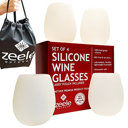 Silicone Wine (Silicone Wine Glasses Set of 4 - Largest at 20 oz - Clear Silicone, Unbreakable, 100% Food Grade, BPA FREE - Convenient Carry Pouch Included - For BBQ, Parties, Camping, Pool, Beach, Concerts, Games)