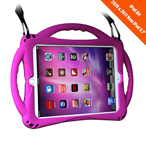 New iPad 2017/2018 9.7 inch Case/iPad Air Case, TopEsct Shockproof Silicone Handle Stand Case Cover&(Tempered Glass Screen Protector) for Apple iPad 9.7inch(2017/2018 Edition) and iPad Air (Purple)