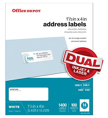 Office Depot White Inkjet/Laser Address Labels, 1 1/3in. x 4in, Pack of 1,400, 505-O004-0019