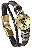 #1: Hamoery Punk Alloy Leather Bracelet For Constellation Braided Rope Bracelet Bangle