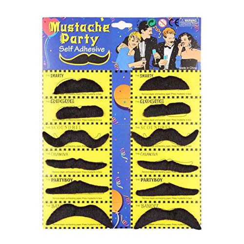 Liobaba 12pcs Funny Stylish Costume Party Fake Beard Mustache Party Halloween Fun Fake Mustache Moustache Beard Whisker Hot -