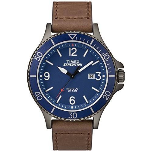 Timex Men's TW4B10700 Expedition Ranger Brown/Gunmetal/Blue Leather Strap Watch (Gray Watches For Men)