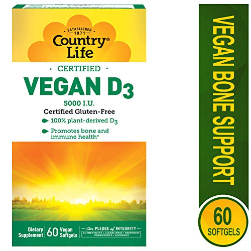 Country Life Vegan D3 5000 IU - 60 Softgels - 100% Plant-derived - Promotes Immune Health & Bones