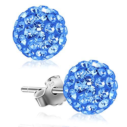 (UHIBROS Women 925 Sterling Sliver Stud Earrings Round Blue Cubic Zirconia Hypoallergenic Ear Studs)