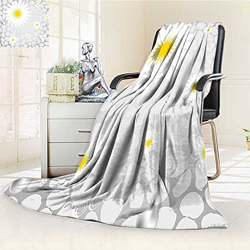 Throw Blanket Hawaiian on Print Theme Backdrop White and Light Grey Warm Microfiber All Season Blanket for Bed or Couch