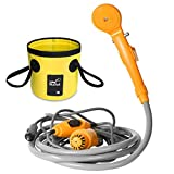 AUTOPkio Portable Outdoor Shower Folding Bucket Kit, Camping Shower Head Plug into 12V Cigarette Adapter and Turns Water into Steady Gentle Stream