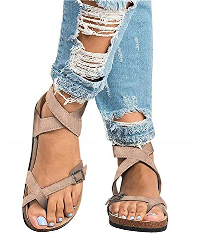 JOYCHEER Womens Gladiator Flat Sandals Ankle Strap Double Buckle Thong Summer Mayari Sandal