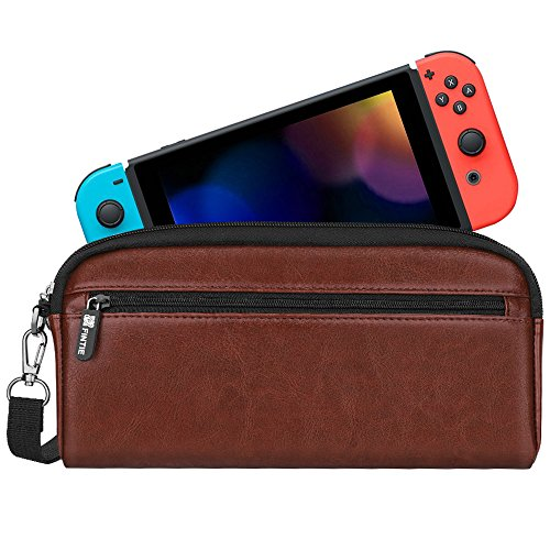 Fintie Carrying Case for Nintendo Switch, Protective Sleeve Pouch Bag with Side Pocket & Foldable Game Storage Sheet for Nintendo Switch and Accessories - Vintage ()