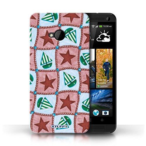 Etui / Coque pour HTC One/1 M7 / Rouge/Vert conception / Collection de Bateaux étoiles