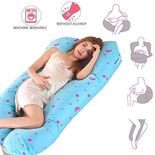 Pregnancy Pillow, U Shape Pregnant Full Body Pillow Nursing Cushion for Growing Tummy Support Full Pregnancy Body Maternity Pillow with Contoured Back Support with Zippe/Removable Cover(Moonblue)