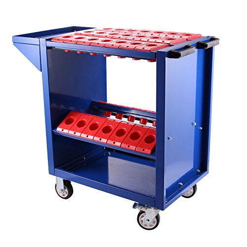 BestEquip CAT40 BT40 Tool Cart 35 Capacity CNC Tooling Trolley Blue 40 Taper Tool Holders Shelf Cart with Two Swivel and Two Fixed Casters