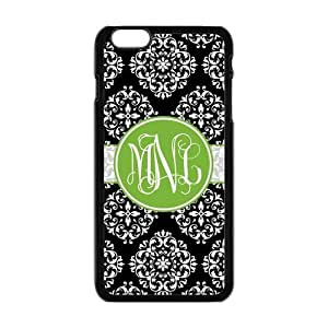 Black Vintage European Pattern Damask Print Style & Green Cirle Monogram Personalized Custom Best Plastic Hard Case for iPhone6 Plus (Only for 5.5 inches) ,Black or White for Choice by Maris's Diary