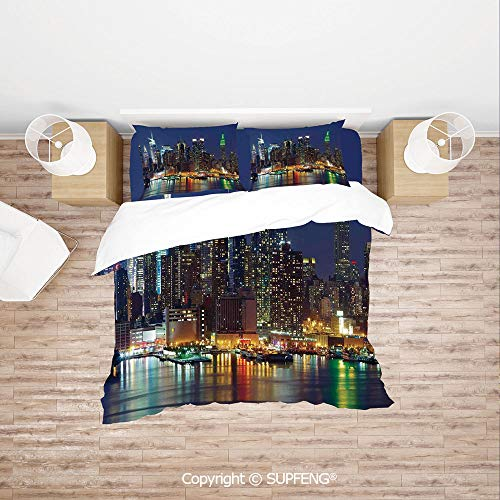 SCOXIXI 3D Bedding Sets NYC Midtown Skyline in Evening Skyscrapers Amazing Metropolis City States Photo (Comforter Not Included) Soft, Breathable, Hypoallergenic, Fade Resistant