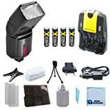 Pro Series 500EX Digital DSLR Dedicated Flash AF Flash for Canon, DSLR Camera & More . . . + 4 Rechargeable AA Batteries with AC/DC Car/Home Charger for AA/AAA Batteries + a Complete Starter Kit