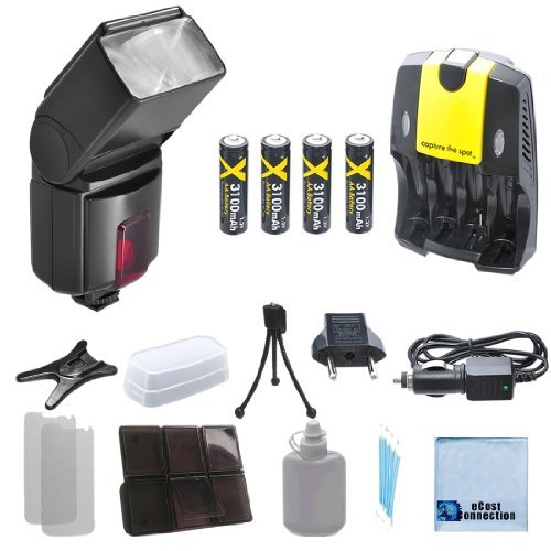 Pro Series 500EX Digital DSLR Dedicated Flash AF Flash for Canon, DSLR Camera & More . . . + 4 Rechargeable AA Batteries with AC/DC Car/Home Charger for AA/AAA Batteries + a Complete Starter Kit by eCost