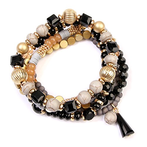 RIAH FASHION Bead Layering Multi Color Statement Bracelets - Stackable Beaded Strand Stretch Bangles (Black)