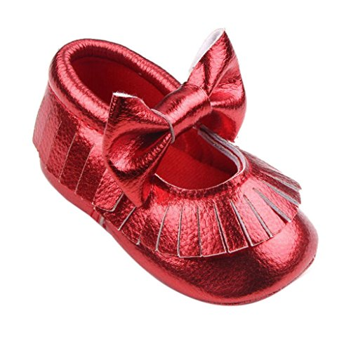 Longra Baby Mädchen Krippe Bowknotschuhe Kleinkind beiläufige Schuh PU Leder Rot