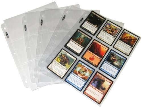 (BCW PRO9T-100 (25 Trading Card 3-Ring Binder Pages - Holds 9 Cards - Clear Brand)