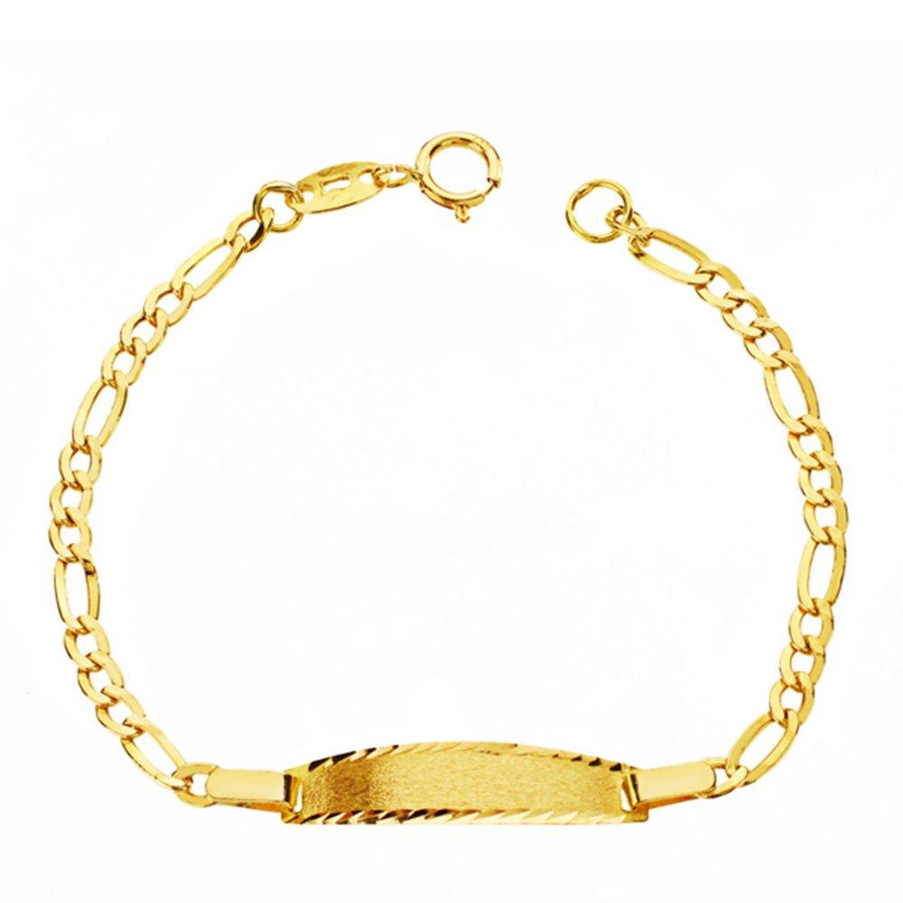 601634095fe4 Alda Joyeros Esclava bebé en Oro Amarillo de 9 ktes - eslabón 3x1.  Personalizable  Grabado Gratuito.  Amazon.es  Joyería