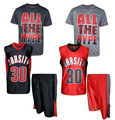 (Mad Game Boys' 6-Piece Performance Basketball Shirt and Short Set (2 Full Sets), All The Hype, Size 16/18')