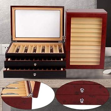 Caja de almacenaje (34 plumas, madera), 2 colores, Rojo: Amazon.es: Bricolaje y herramientas