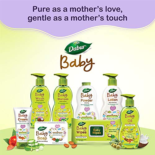 Dabur Baby Soap: For Baby's Sensitive Skin with No Harmful Chemicals |Contains Aloe Vera & Almond Oil | Hypoallergenic & Dermatologically Tested with No Paraben & Phthalates – 75g ( Pack of 4)