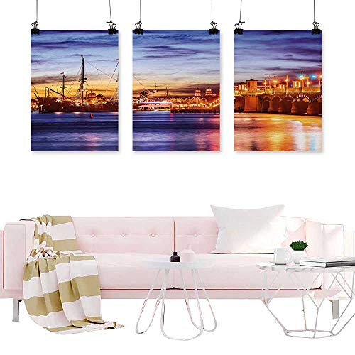(Triptych Wall Art United States,St. Augustine Florida Famous Bridge of Lions Dreamy Sunset Majestic,Orange Blue Coral Wall Canvas Modern Living)