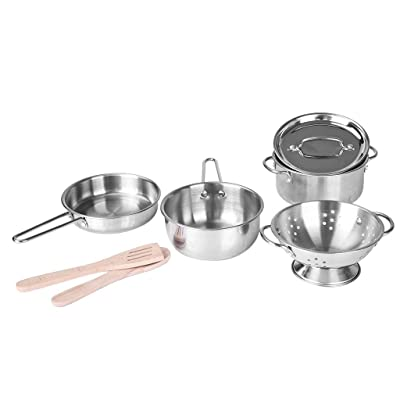 Pratcgoods Pretend Play Toys Kitchen Toys 7 Pcs Stainless Cookware Set for Young Chef Toy Miniature Pans and Pots with Cooking Utensils for Kids Toy Gift: Toys & Games