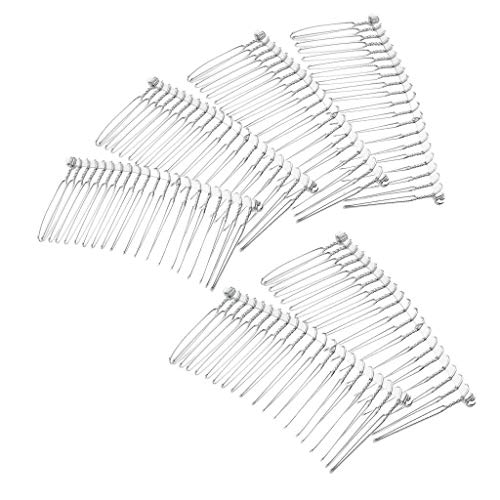 6pcs 20 Teeth Hair Side Combs Barrette Blanks for DIY Bridal Hair Jewelry (Color - Silver)