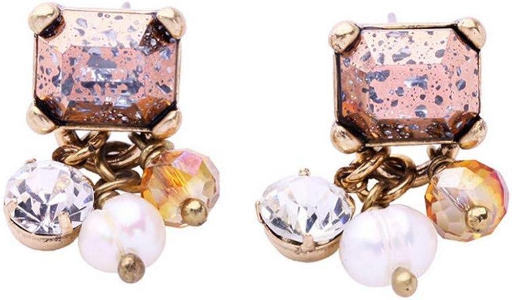 ZRDMN Stud Pendientes Dangler Joyas Para Mujeres Temperamento Elegante Retro Piedras Preciosas Pendientes de Perlas Naturales Señoras Sencillas Salvajes Europa y América