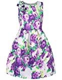 Ephex Toddler Girls Flower Princess Dress with Floral Print 2-11T (8-9 Years, Purple)