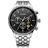 BUREI Men's Multifunction Chronograph Wrist Watch Stainless Steel Bracelet Sapphire Father's Day Gifts (black-gold)