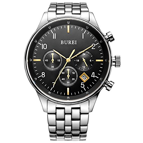BUREI Men Chronograph Sports Watch Black Dial Stainless Steel Bracelet