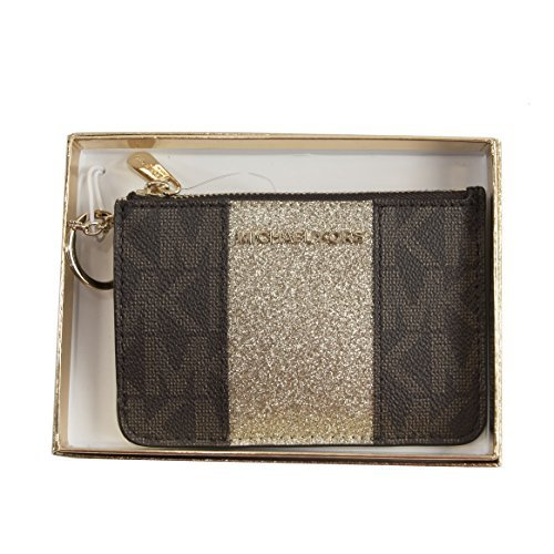 MICHAEL KORS CENTER STRIPE SMALL TOP ZIP COIN POUCH ID MINI WALLET BROWN GOLD