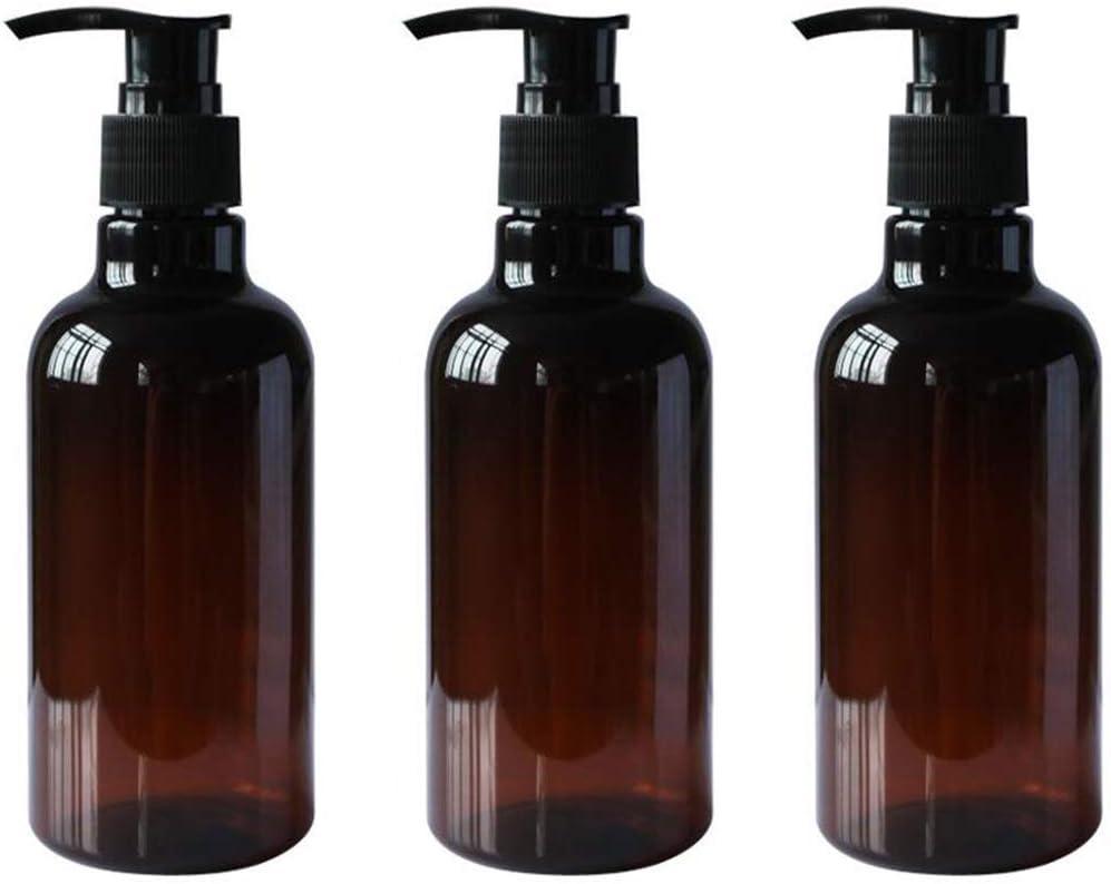 Screenes 3 X 250 Ml Botellas Vacías Marrones De La Bomba Estilo Simple del Animal Doméstico con El Tapón Negro De La Bomba para Las Dosis del Almacenamiento del Gel De La Ducha del Champú para