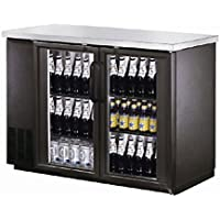 48 Black Glass Door Commercial Back Bar case Refrigerator Cooler NSF UUB24-48G