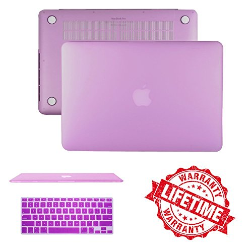 """Macbook Pro Retina 13"""" Case, IC ICLOVER Ultra Slim Light Weight Rubberized Matte Hard Plastic Protective Case Cover & Keyboard Cover for Macbook Pro 13.3"""" with Retina Display (A1502/A1425) - Purple"""