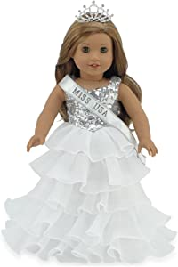 """Emily Rose 18 Inch Doll Clothes for American Girl Doll   Ball Gown Pageant Doll Dress with Miss USA-Inspired Sash and Sparkling Crown!   Fits 18"""" American Girl Dolls"""